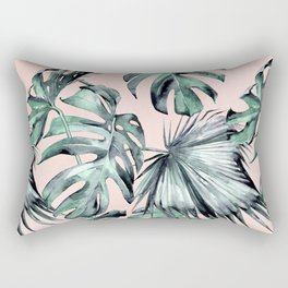 Island Love Coral Pink + Green Rectangular Pillow