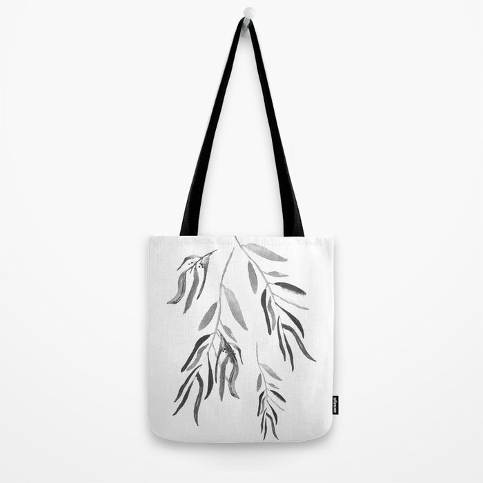 Eucalyptus Branches II Black And White Tote Bag