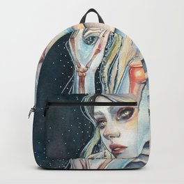 """Celestial"" Mixed Media Fantasy Portrait Backpack"