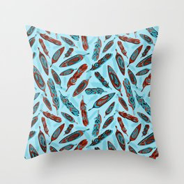 Tlingit Feathers Blue Throw Pillow