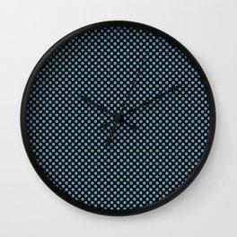 Black and Hippie Blue Polka Dots Wall Clock