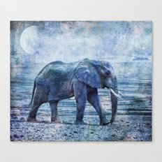 The Elephants Journey blue moon Canvas Print