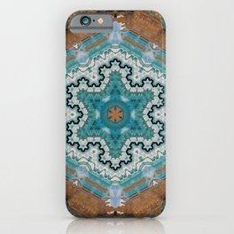 Aqua, Gold and Blue Tile 4 iPhone Case