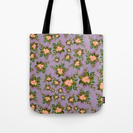 Watercolor Flowers on Purple Background Tote Bag