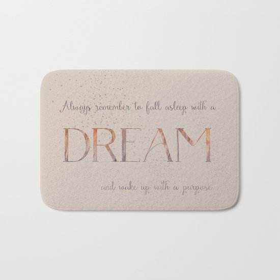 Always remember to fall asleep with a dream - Gold Vintage Glitter Typography Bath Mat