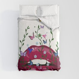 Lips,abstract art,flowers,butterflies,hummingbirds Comforters