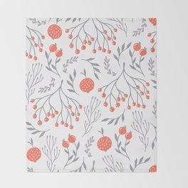 Red Berry Floral Throw Blanket