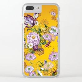 Purple Flowers III Clear iPhone Case