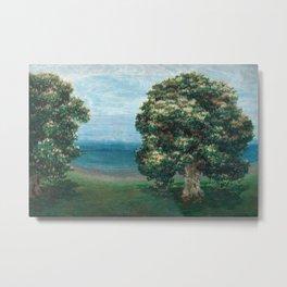 Flowering Chestnut Trees by the Sea landscape painting by Emilie Mediz Pelikan Metal Print