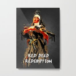 Acrylic Red dead Mother Theresa Metal Print