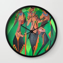 Three Ethnic Traditional Black Women Dancing Wall Clock