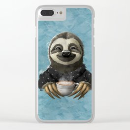 Sloth smilling with coffee latte Clear iPhone Case