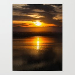 Golden glow over Black Butte Lake Poster