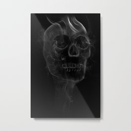 Smoking Skull Metal Print