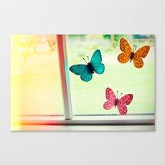 Butterflies On My Window Canvas Print