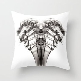 Smoke Ram-Black on White Throw Pillow