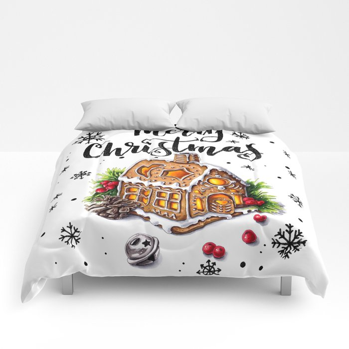"""Merry Christmas """"Gingerbread house"""" Comforters"""
