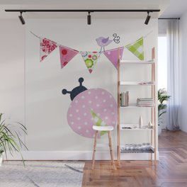 Ladybug with party flags Wall Mural