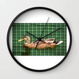 mallard on flannel Wall Clock