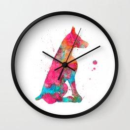 Colorful Doberman Wall Clock