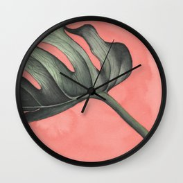 Monstera on Pink Wall Clock