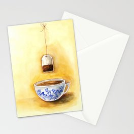 A cup of tea watercolor illustration Stationery Cards