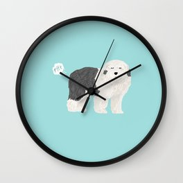 old english sheepdog farting dog cute funny dog gifts pure breed dogs Wall Clock