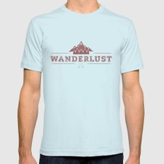 WANDERLUST Mens Fitted Tee MEDIUM Light Blue