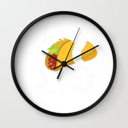 Bigfoot Carrying a Massive Taco - Night Tuesday Wall Clock