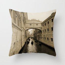 Bridge of Sighs, Venice, Italy, Sepia,  Throw Pillow