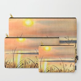 Sunset by the Water Watercolor Painting Carry-All Pouch