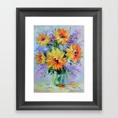 Bouquet of sunflowers Framed Art Print