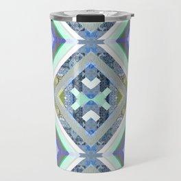 Elegant Boho Cool Tone Sacred Geometry Quilt Print Travel Mug