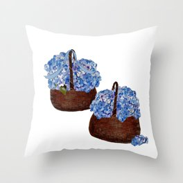 Two Baskets of Hydrangea Love Throw Pillow