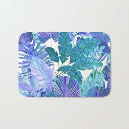 Tropical Leaf Blue Bath Mat