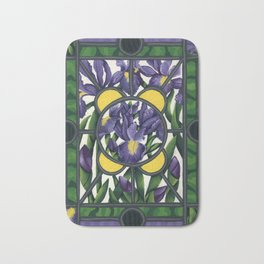 Stained Glass Irises Bath Mat