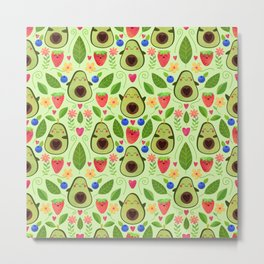 Happy Avocados Metal Print