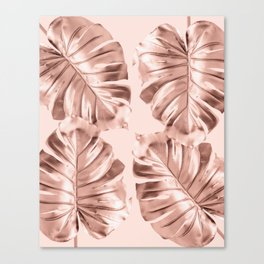 Rose Gold Monstera Leaves on Blush Pink Canvas Print