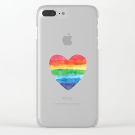 LGBTQ Watercolor Love Heart Clear iPhone Case