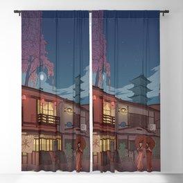 Kyoto at night Blackout Curtain