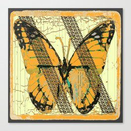 ROADKILL MONARCH BUTTERFLY  & TIRE TRACKS ART Canvas Print