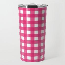 Farmhouse Gingham in Dark Pink Travel Mug