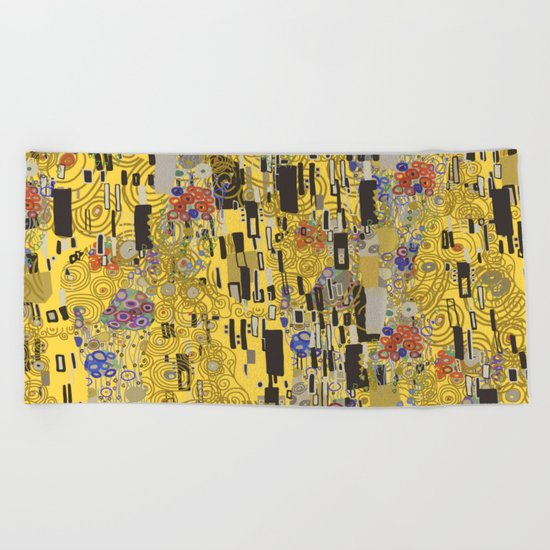 Gold Explosion Beach Towel