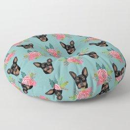 Min Pin miniature doberman pinscher dog breed dog faces cute floral dog pattern Floor Pillow