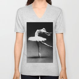 Swan Lake Ballet Magnificent Natalia Makarova black and white photograph  Unisex V-Neck