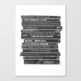 Mono book stack 2 Canvas Print