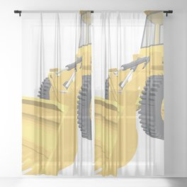 Bulldozer 3D projection vector. Sheer Curtain