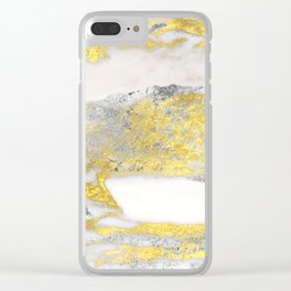 Silver and Gold Marble Design Clear iPhone Case