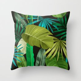 Tropical Leaf Pattern Throw Pillow
