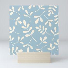 Cream on Blue Assorted Leaf Silhouettes Mini Art Print